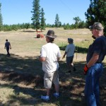 Mark K7HPT, Chris WX7B, Gerry AE7KI, and Bob N7AU pondering the situation (the tractor did all the pulling!)