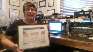 Marybeth AE7GT gets WAS certificate