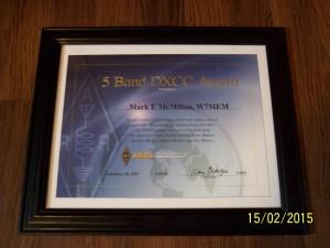 W7MEM 5BDXCC award