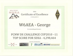 DX Challenge Cup 2010-11 score for George